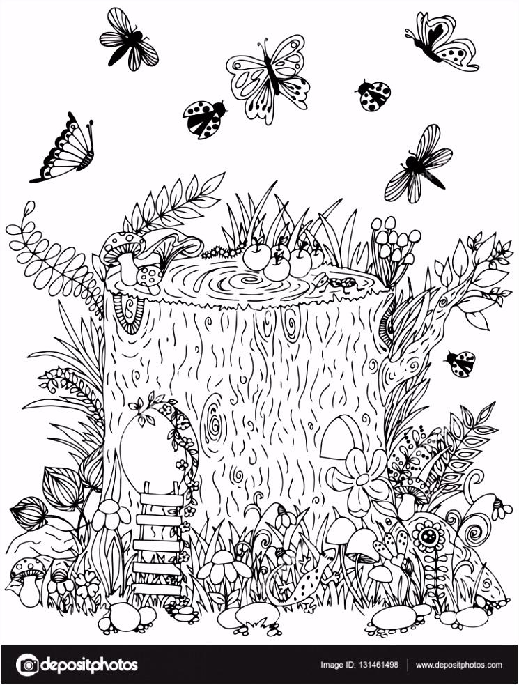 Fairy stomp met deur vlinders Vectorillustratie Doodle tekening