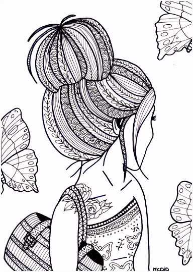 Free coloring page for adults Girl with tattoo Gratis kleurplaat