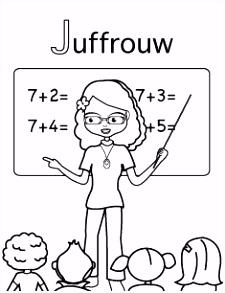 Kleurplaat J van Juffrouw