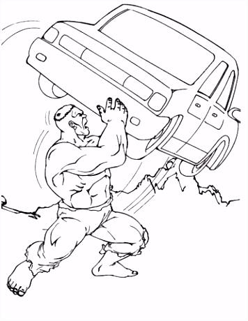 Hulk gooit met de auto kleurplaat
