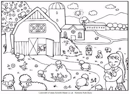 Count the lambs kleurplaat en zoekplaat Hoeveel lammetjes zie je