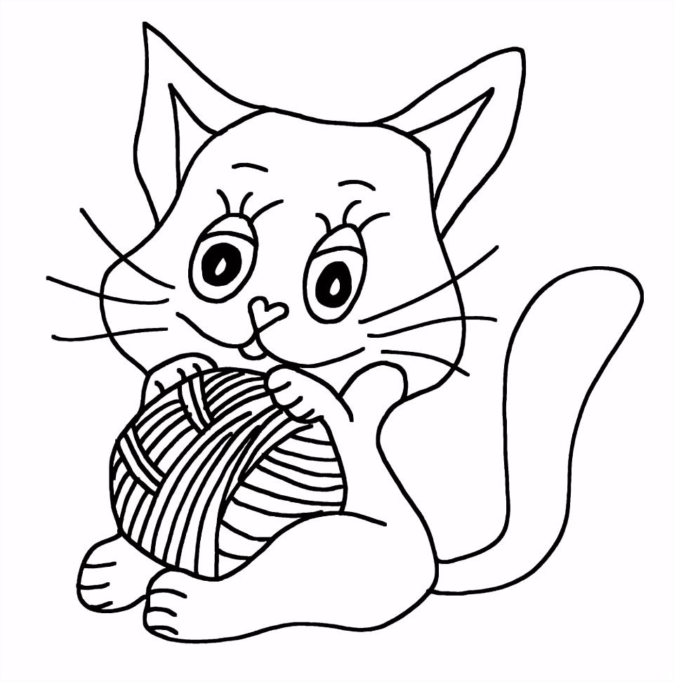 Kleurplaat kat zittend – Ik wil een poes