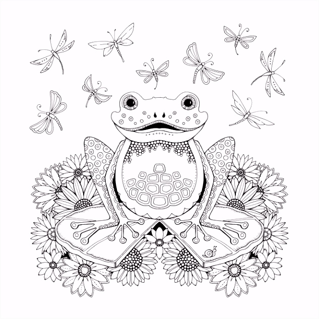 Frog Artist Johanna Basford Enchanted Forest Coloring pages Garden