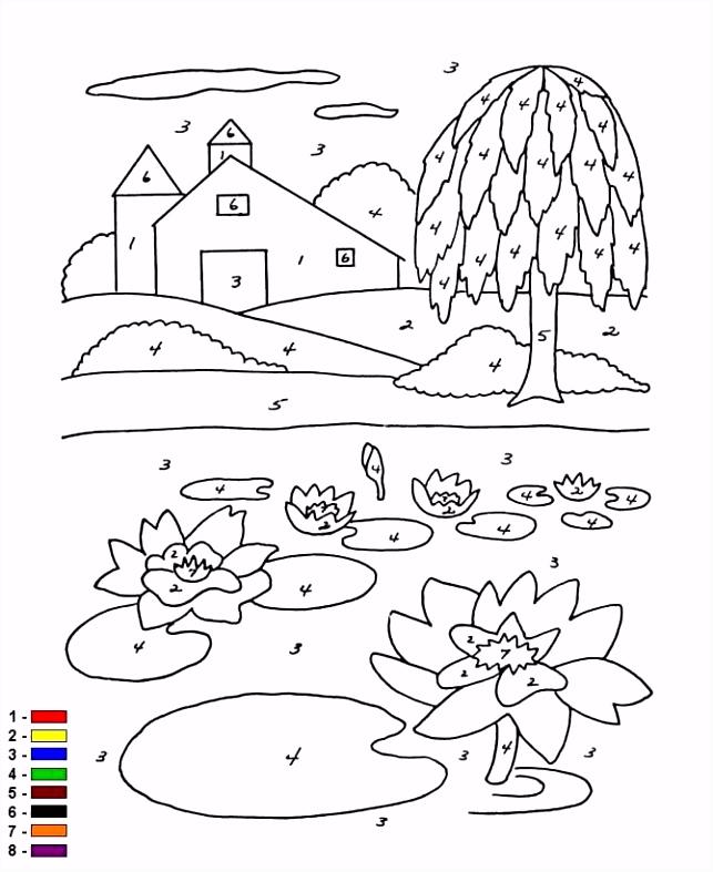 kleurplaten en zo Kleurplaat van Kleur op nummer Boerderij
