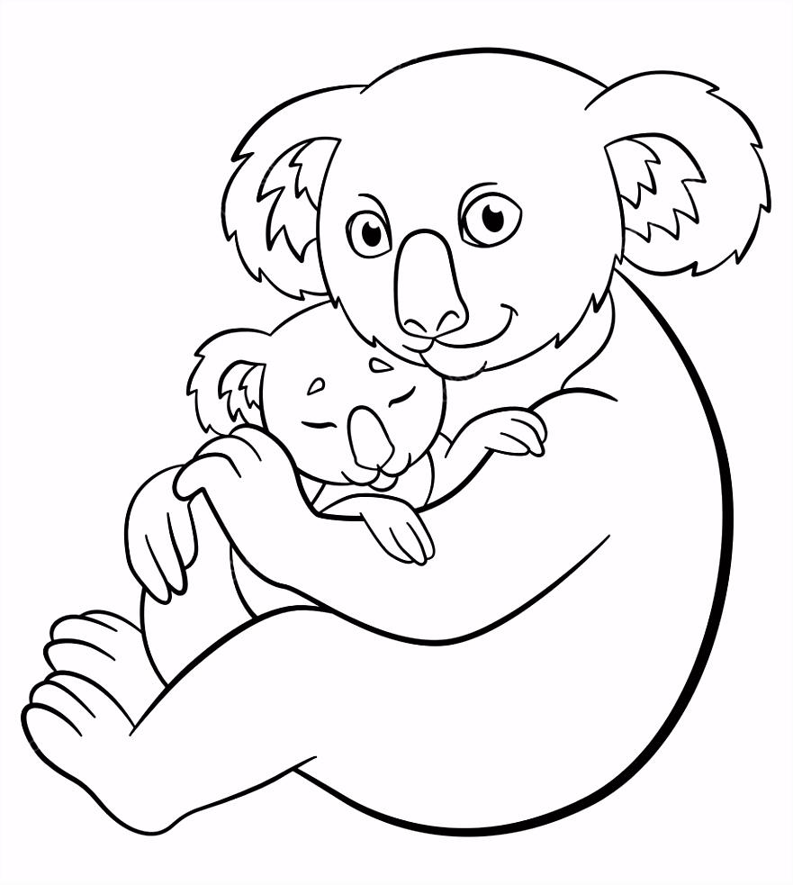 Kleurplaten Moeder koala met haar schattige slapende baby