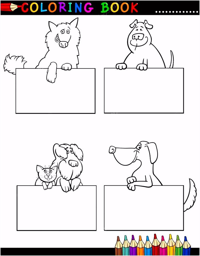 Cartoon Honden met kaarten kleurplaten pagina — Stockvector