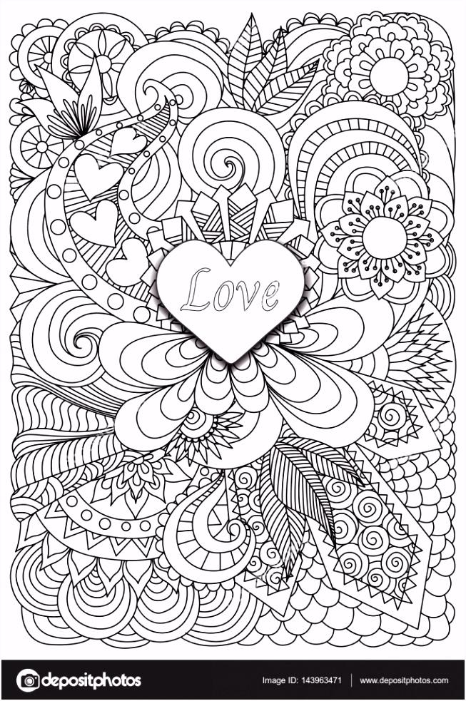 Hart vorm het woord liefde op florale achtergrond voor volwassen