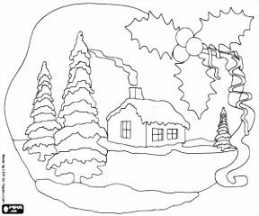 Kleurplaten Kerstmis landschappen kleurplaat