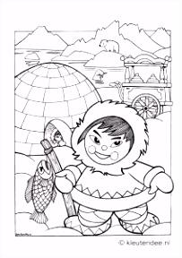 kleurplaat Noordpool eskimo iglo kleuteridee free printable