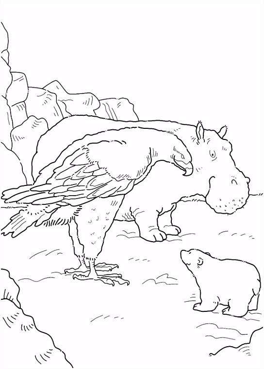 kleurplaten en zo Kleurplaat van Kleine ijsbeer en zeearend