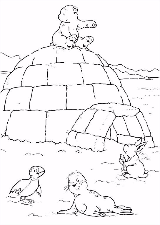 Print Kleine ijsbeer op iglo kleurplaat Winter