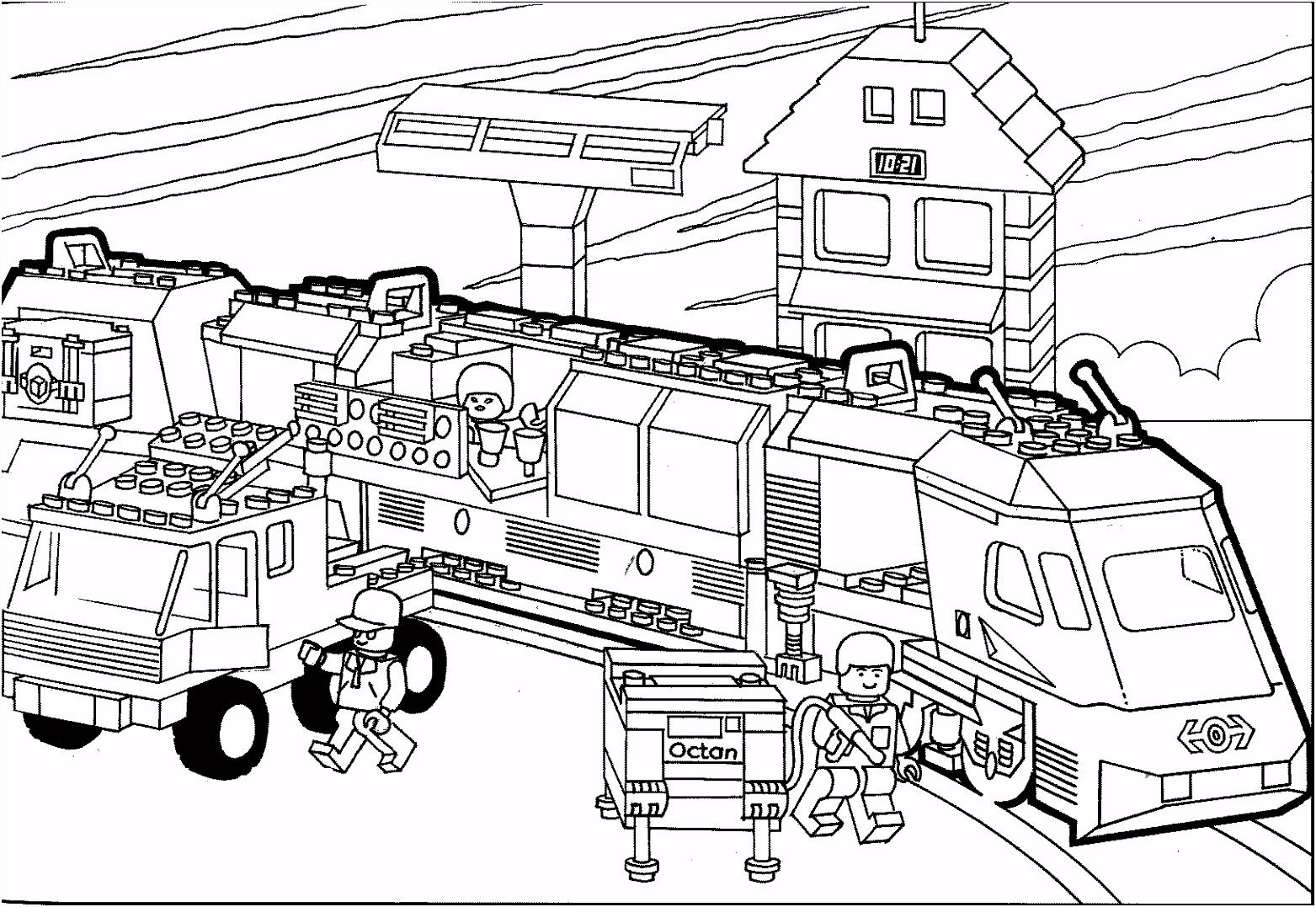 Kleurplaat LEGO trein