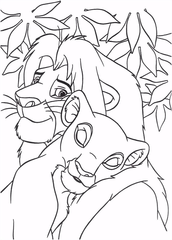 kleurplaat Lion King of de Leeuwenkoning Simba en Nala
