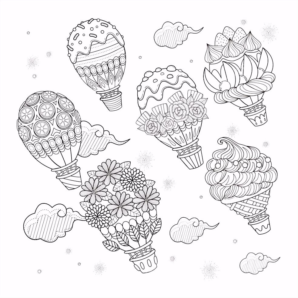 Hete lucht ballon volwassen kleurplaat — Stockvector © kchungtw