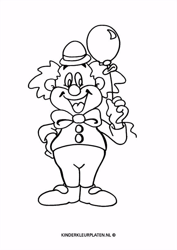 Kleurplaat clown met ballon ALGEMEEN