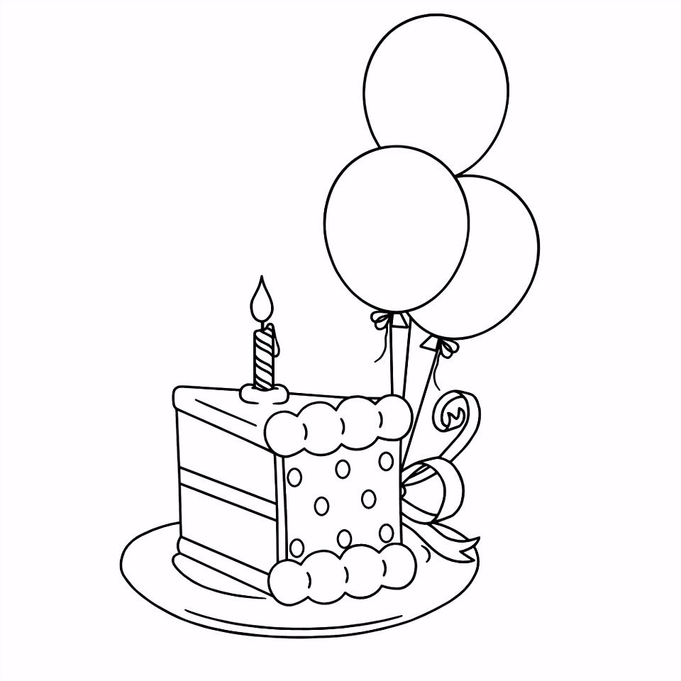 Leuk voor kids – stuk taart met ballonnen