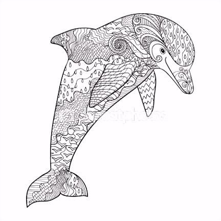 Delfn de mar recargado — Vector de stock … pirograbado