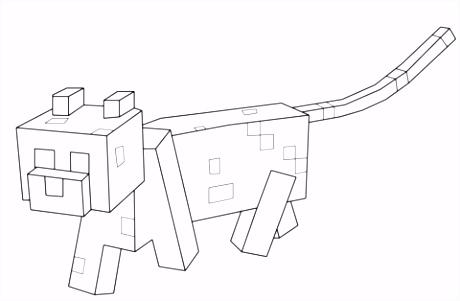 Minecraft Ocelot kleurplaat