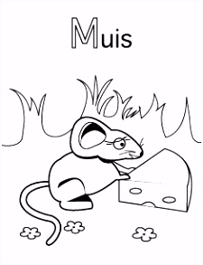 Alfabet kleurplaat M van Muis