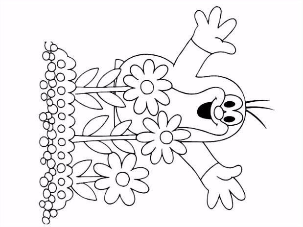 Krteček omalovánky k vytisknut