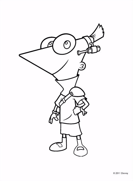Kleurplaat Rebel Phineas uit de toekomst kleurplaatje