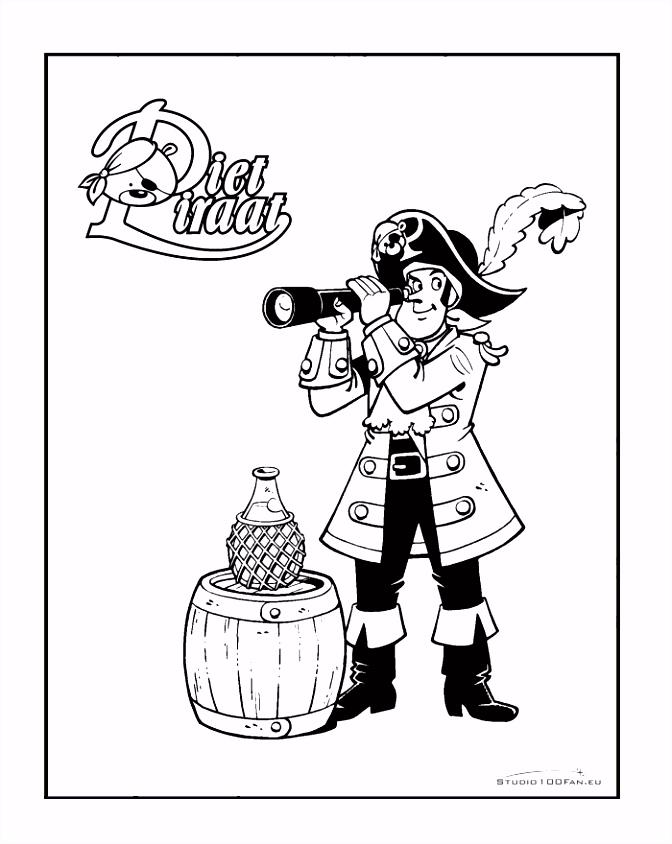 Kleurplaat Piet Piraat met verrekijker Piet Piraat