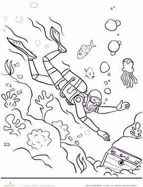 Scuba Diver Coloring Page design Pinterest