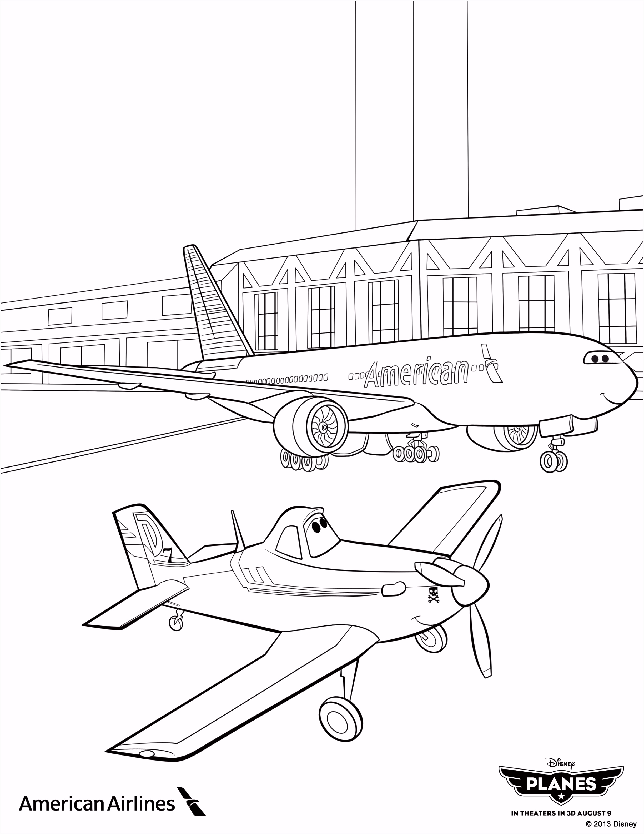"Planes"" coloring sheet from American Airlines"