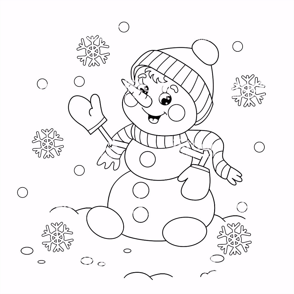 Coloring Page Outline Cartoon Snowman Stock Vector Art & More