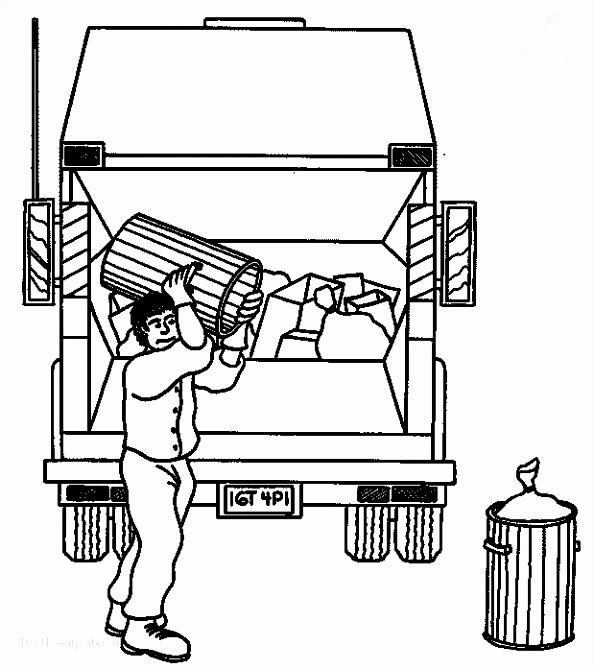 Coloriage Camion Poubelle et Ripeur dessin gratuit  imprimer