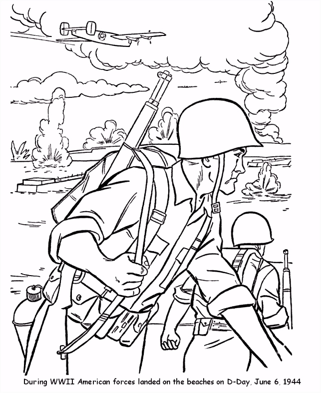Veterans Day Coloring Pages WW II June 6 1944 D Day