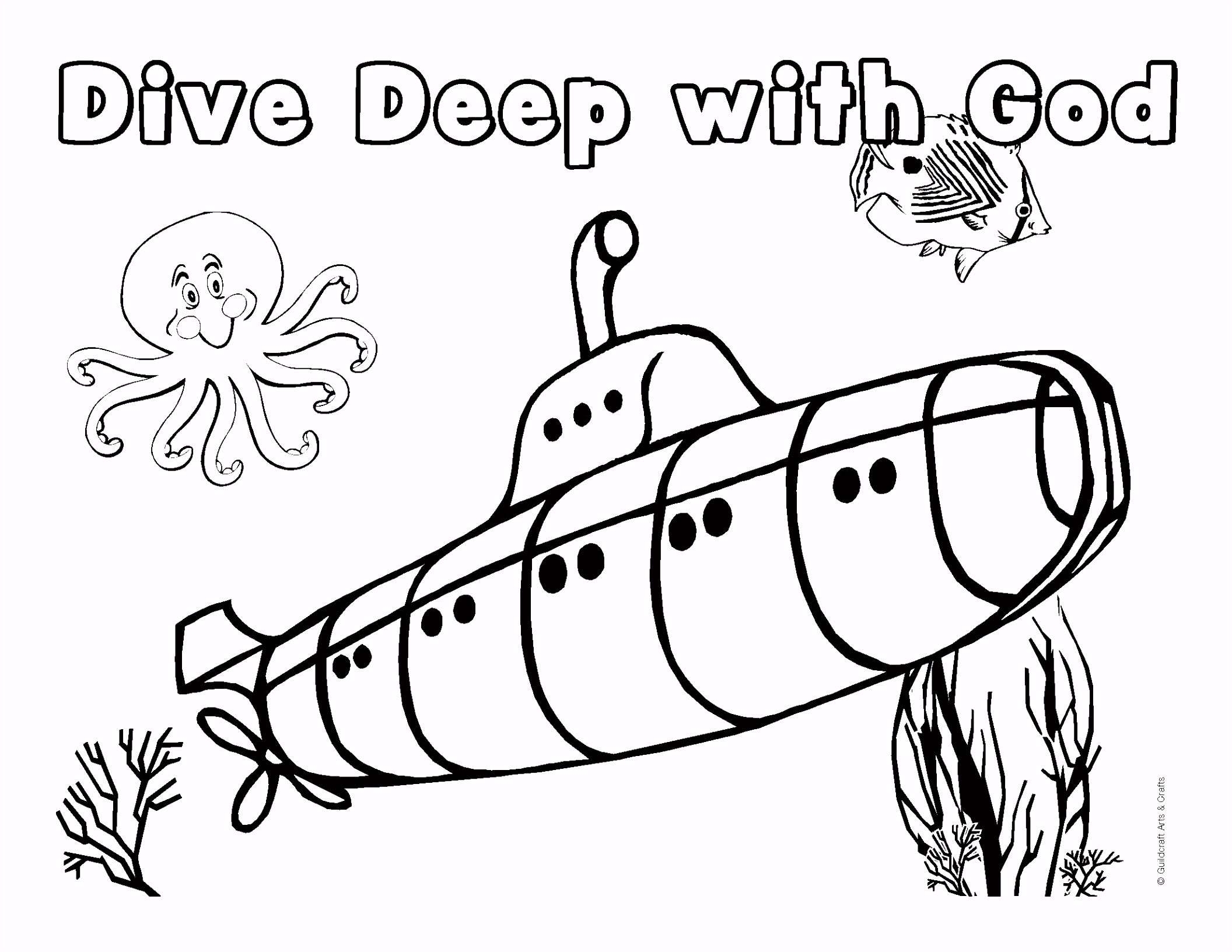 Underwater coloring pages to and print for free