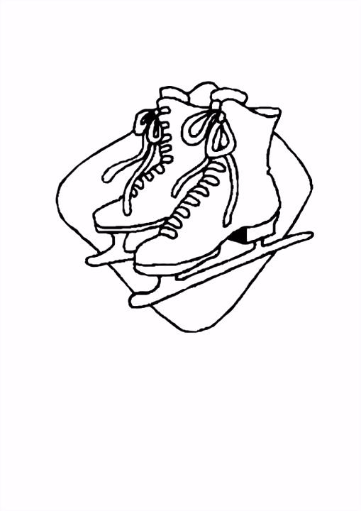 Kleurplaat schaatsen Afb
