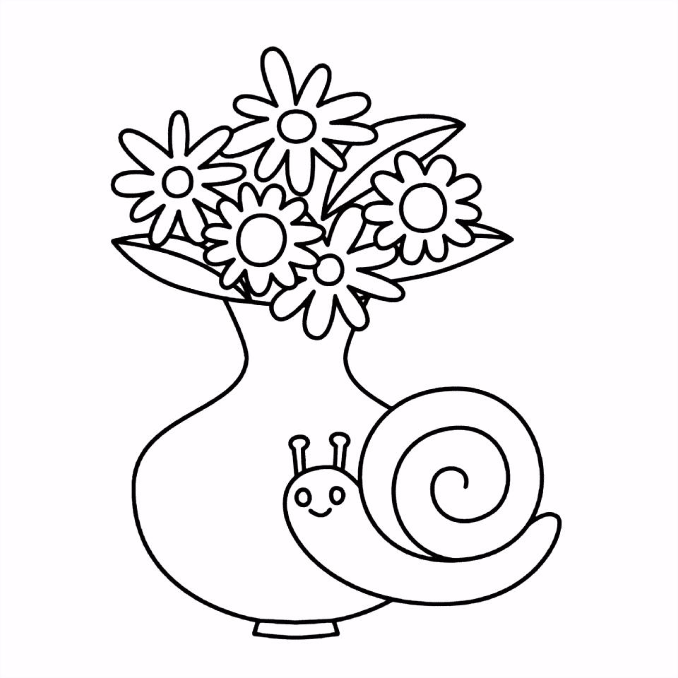 Kleurplaten Slak Leuk Voor Kids – Vaas Met Bloemen En Een Slak Q6ve95zwy2 Dmtwvsyyum