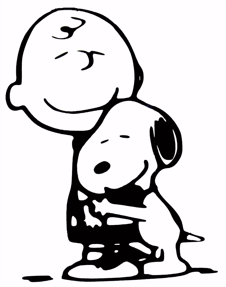 7 00 Charlie Brown and Snoopy Hug Die Cut Vinyl Decal Black