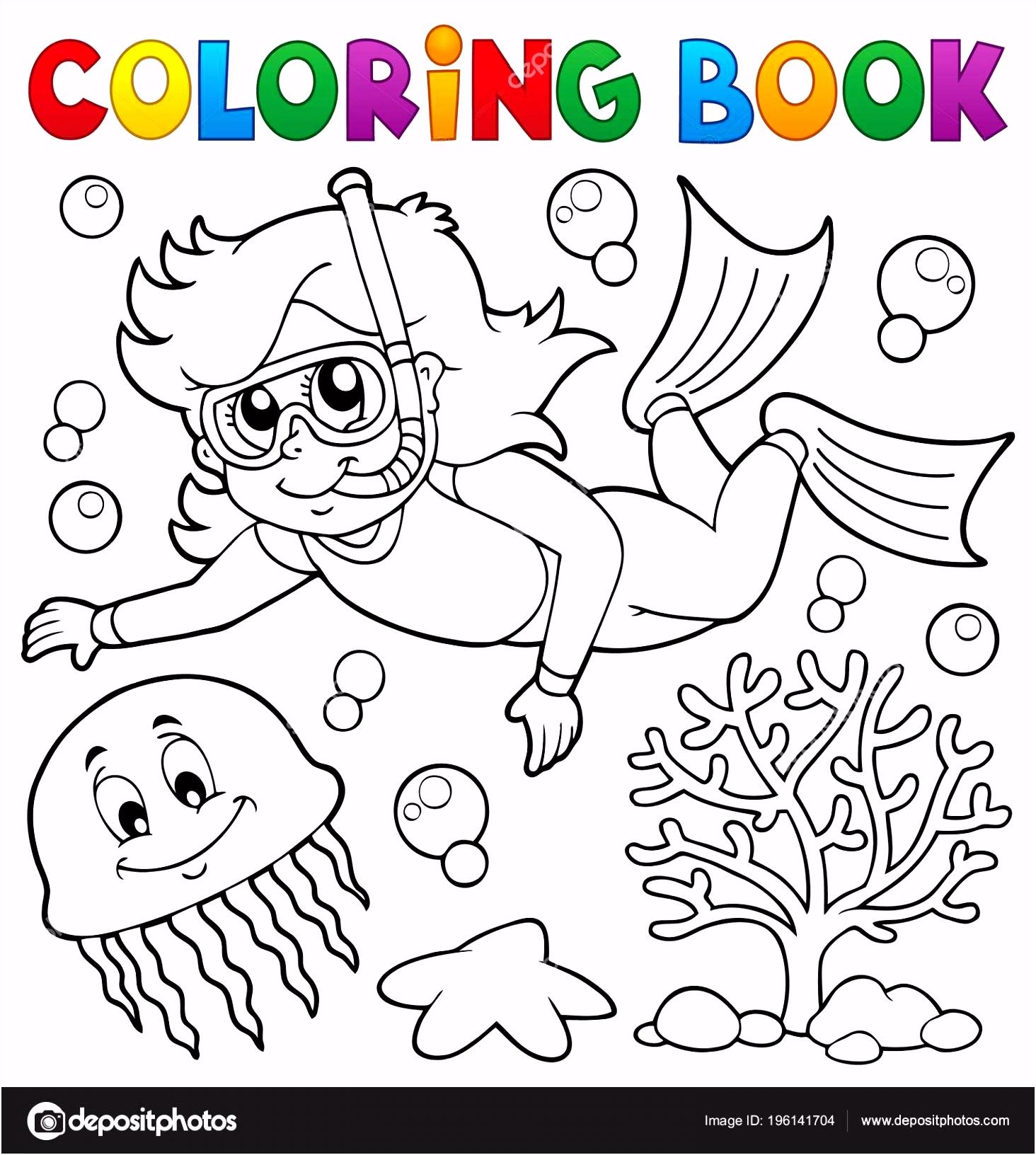 Kleurplaat Boek Meisje Snorkel Duiker Eps10 Vectorillustratie