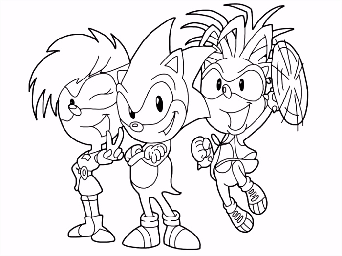 Sonic With Her Underground Borther And Sister Coloring Page