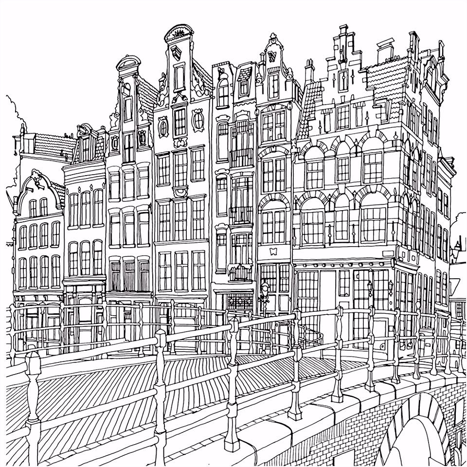 Kleurplaten Amsterdam Volwassenen Steden En Gebouwen Kleurplaten