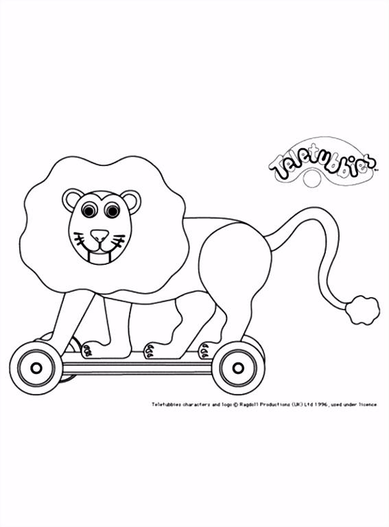 Kleurplaat Een houten leeuw op wieltjes voor de Teletubbies