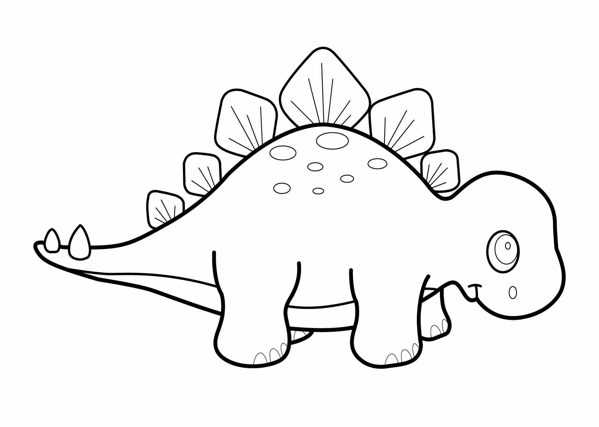 Little dinosaur stegosaurus cartoon coloring pages for kids