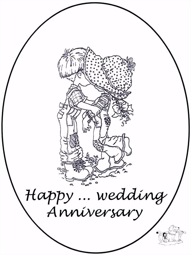 Kaart jarig huwelijk Kleurplaten trouwen
