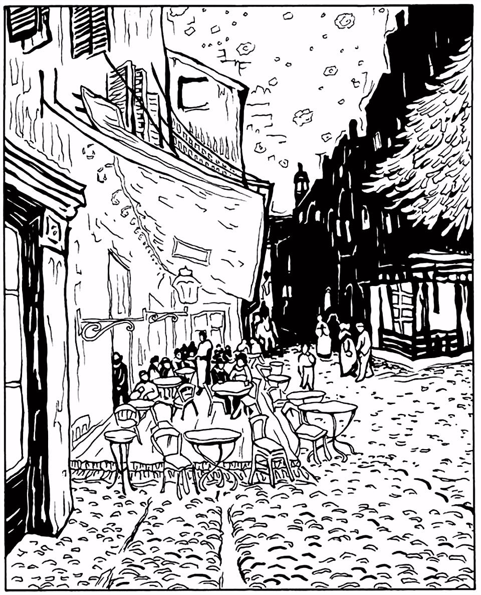 Free coloring page coloring adult van gogh le cafe de nuit coloring