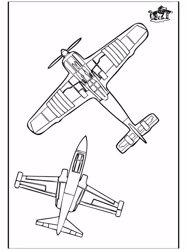 Kleurplaat vliegtuig 3 Kleurplaten vliegtuigen