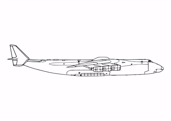 Kleurplaat zijkant van vliegtuig Afb
