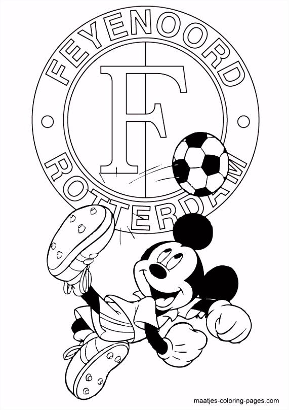 Feyenoord Mickey Mouse kleurplaat