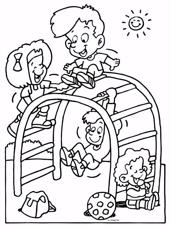 Kleurplaat Kinderen in de klimrek Kleurplaten