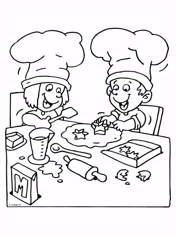 Kleurplaat Kinderen koken Kleurplaten