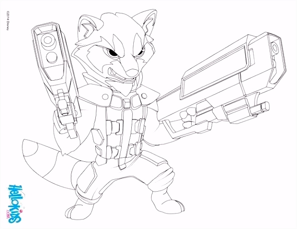 Rocket Racoon coloring page from the Marvel ic movie Guardian of