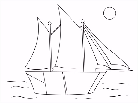 Aboriginal tekening van zeilschip kleurplaat