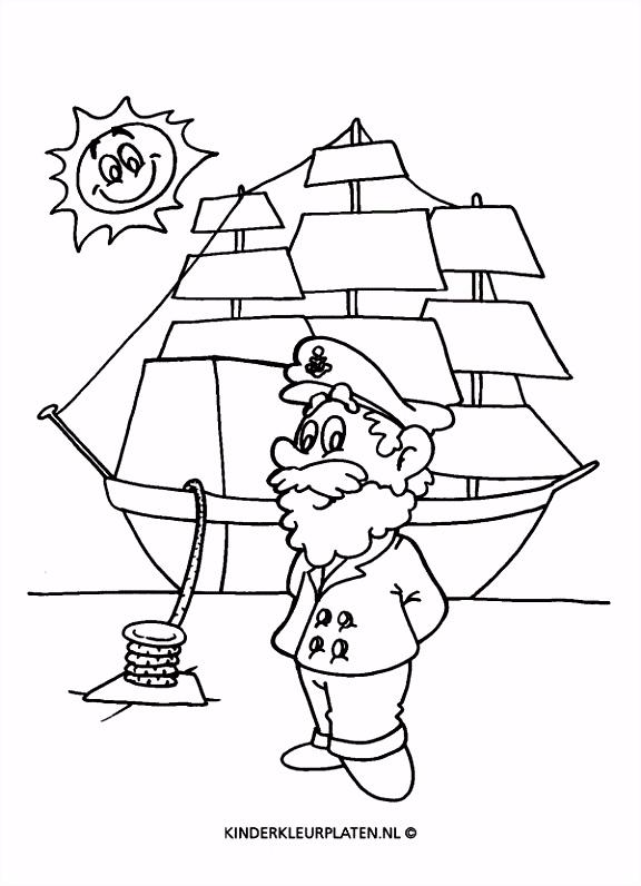 Kleurplaat zeilboot zeilschip kapitein VERVOER